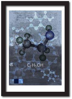 Science art print Ethanol molecule scientist by Solidairdesigns