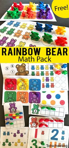 FREE printable math pack for preschool and kindergarten to be used with the set of rainbow counting bears Kids will practice counting colors number recognition ten frames. Bears Preschool, Preschool Colors, Free Preschool, Preschool Printables, Preschool Lessons, Preschool Learning, Teaching Math, Preschool Activities, Toddler Preschool