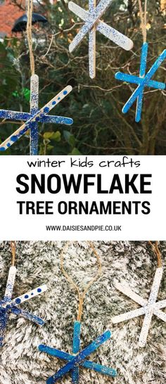 How to make snowflake ornaments, kids Christmas craft ideas Christmas Crafts For Kids To Make, Christmas Activities, Crafts For Teens, Kids Christmas, Holiday Crafts, Kids Holidays, Christmas Stuff, Holiday Decorations, Preschool Crafts