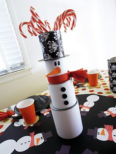Darling snowman themed table setting ideas!!