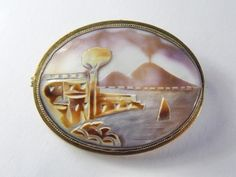 Unusual Vintage Italian Shell Cameo Brooch Pin Pendant Mount Vesuvius Volcano