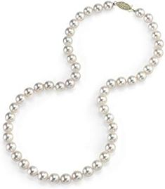 Amazing offer on THE PEARL SOURCE Gold Hanadama Quality Round Genuine White Japanese Akoya Saltwater Cultured Pearl Necklace 17 Princess Length Women online - Topbrandshits Cultured Pearl Necklace, Cultured Pearls, Pearl Jewelry, Christmas Gifts For Women, Christmas Hanukkah, June Birth Stone, Gold Material, Diamond Studs, Wedding Ring Bands