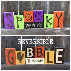 Reversible Halloween and Thanksgiving blocks--Spooky trick or treat reverses with Gobble til you wobble wood block - Craft Ideas - 2x4 Crafts, Wood Block Crafts, Wooden Crafts, Wood Blocks, Wood Projects, Jenga Blocks, Fall Projects, Glass Blocks, Halloween Crafts To Sell