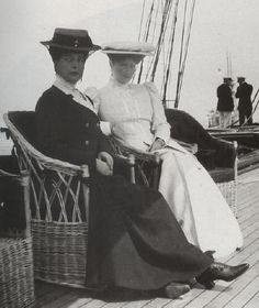 Empress Alix-Alexandra Feodorovna (6 June 1872-17 July 1918) Hesse, Germany Wife of Emperor Nicholas II (Nicholas Alexandrovich Romanov) (6 May 1868-17 July 1918) Russia & her Aunt Alexandra, Queen of England
