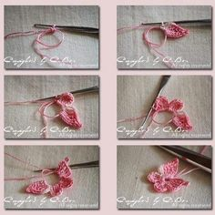 Crochet Butterfly - Tutorial for Crochet, Knitting. Crochet Diy, Love Crochet, Irish Crochet, Crochet Crafts, Crochet Projects, Diy Crafts, Appliques Au Crochet, Crochet Motifs, Crochet Stitches