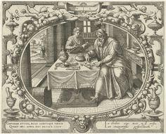 Gerard P. Groenning | De mens op vijftigjarige leeftijd, Gerard P. Groenning, 1569 - 1575 | In een ovaal kader versierd met ornamenten een voorstelling van een volwassen man in zijn werkkamer. Hij telt zijn geld. Op de tafel voor hem allerlei rijkdommen. Een jongeling die naast de tafel staat leest een boek. Door een deuropening op de achtergrond is een wandelend paar te zien. De prent heeft een Latijns en Frans onderschrift.