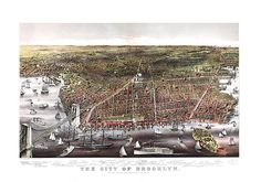 Brooklyn, NY 1879 and Manhattan New York.  Fully Restored! No Black link in the middle, printed rip and tears!  Vintage Reproduction Print.