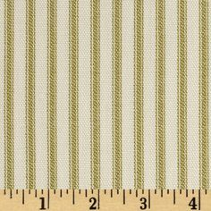 Vertical Ticking Stripe Ivory/Green from @fabricdotcom  Screen printed on cotton duck; this fabric is medium weight (approximately 6.1 oz. per square yard) and perfect for light upholstery, window treatments, toss pillows, duvet covers, also tote bags and jackets. *Prewash to allow for shrinkage.