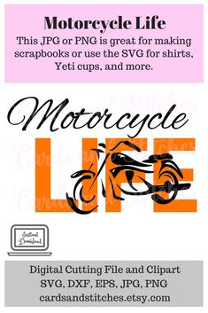 This Motorcycle Life SVG Digital Cutting File and Clipart is perfect for making shirts, signs, glass blocks and so much more. Motorcycle Clipart, Sell On Etsy, My Etsy Shop, Making Shirts, Glass Blocks, Craft Items, Cricut, Svg Cuts, Scrapbooking Layouts