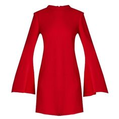 Ellery Duckie flared-sleeve mini dress (£465) ❤ liked on Polyvore featuring dresses, red, red holiday dress, long sleeve mini dress, cocktail dresses, high-low dresses and red cocktail dress