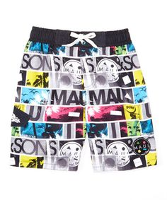 203777e7b5 Dreamwave Apparel Gray & Yellow Maui and Sons Collage Swim Trunks - Kids