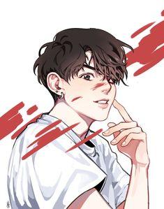 Jungkook Fanart, Kpop Fanart, Kpop Drawings, Dibujos Cute, Art Reference Poses, Boy Art, Pretty Art, Art Inspo, Anime Guys
