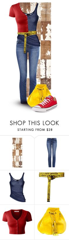 """Red, Yellow, Blue..."" by marvy1 ❤ liked on Polyvore featuring Safavieh, J Brand, Just Cavalli, Off-White, LE3NO, VANINA and Converse"
