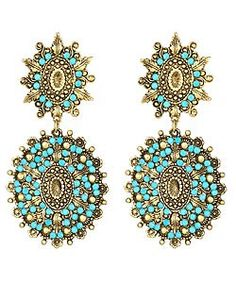 Yochi - Turquoise and Gold Earrings