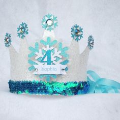 Sparkly Elsa Frozen Birthday Crown Party Hat in Iridiscent White and Aqua