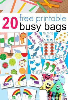 20 free printable busy bags for kids that you can put together in less than 10 minutes! Just print and play! These free printable busy bags are super simple to make--just print and play! Perfect for travel or as quiet time activities. Quiet Time Activities, Infant Activities, Preschool Activities, Educational Activities, Summer Activities, 1year Old Activities, Activities For 3 Year Olds, Preschool Prep, Indoor Activities