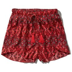 Abercrombie & Fitch Pattern Drapey Short ($17) ❤ liked on Polyvore featuring shorts, pants, red pattern, drawstring shorts, tassel shorts, wrap shorts, red short shorts and short shorts