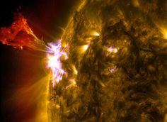 Solar Eruption of May NASA/SDO/AIA A burst of solar material leaps off the left side of the sun in what's known as a prominence eruption. This image combines three images from NASAs Solar Dynamics Observatory captured on May at pm EDT All Nature, Science And Nature, Some Beautiful Images, Sun Flare, Sun Photo, Weather Underground, Space Photos, Space Images, Sky News