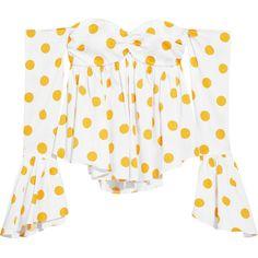 Caroline ConstasOff-the-shoulder Polka-dot Cotton-blend Poplin Top ($390) via Polyvore featuring tops, caroline constas, white corset top, dot top, bone corset and white corset