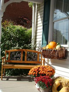 Love the wrought iron window box. Wrought Iron Window Boxes, Shutter Designs, Iron Windows, Window Planters, Falling Leaves, Autumn Leaves, Front Porch, Future House, Fall Decor
