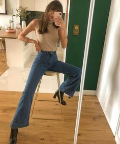 Jean Outfits, Cute Outfits, Outfits With Jeans, Indie Outfits, Look Kylie Jenner, Look Jean, Estilo Jeans, French Outfit, Fall Jeans