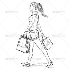 Sketch Shopping Girl