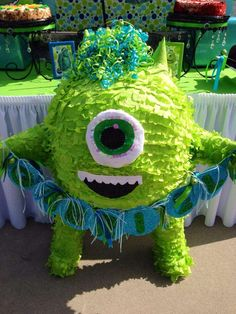 Monster's Inc Birthday Party Ideas Monster 1st Birthdays, Monster Inc Party, Monster Birthday Parties, 3rd Birthday Parties, First Birthdays, Birthday Celebration, Monster Pinata, Monster Mash, Easy Birthday Party Games