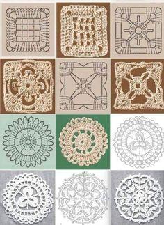 × - trico e croche Granny Square Häkelanleitung, Granny Square Crochet Pattern, Crochet Diagram, Crochet Chart, Crochet Squares, Crochet Granny, Granny Squares, Crochet Quilt, Crochet Blocks