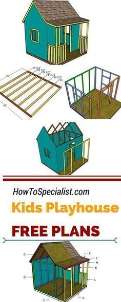 Learn how to build a beautiful kids playhouse with a porch, using my free set of plans. Step by step instructions and free children's playhouse with roof for building it with minimum time and effort! #playhousebuildingplans #buildachildrensplayhouse