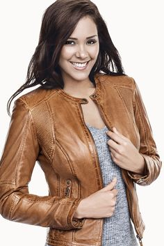 Tan brown leather jacket