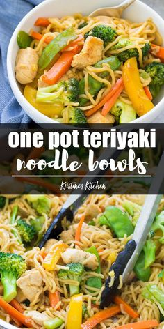 A one pot dinner that the whole family will love! These Teriyaki Chicken and Veggie Noodle Bowls are a healthy meal that will get kids to eat their veggies. A slightly sweet, refined sugar-free homemade teriyaki sauce makes vegetables more appealing! Meal prep the ingredients to help get dinner on the table faster. #onepot #dinner #dinnerrecipes #healthyrecipes #broccoli