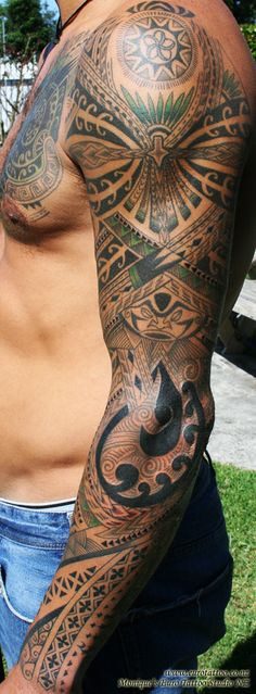 Pacific Island sleeve tattoo. Get your tattoo supplies here... http://activelifeessentials.com/body-canvas/ #bodyart #tattoos