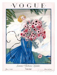 Vogue Cover - June 1923 Premium giclée print van Georges Lepape bij AllPosters.nl