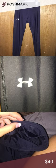 Under armor leggings Black under armor leggings. Size small. With pocket in the back Under Armour Pants Leggings