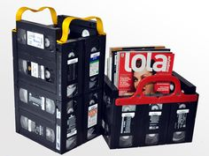 LOVE this idea for old VHS tapes!!! :) Storage boxes/ magazine stand etc..