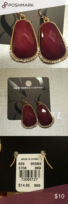 NY&C Ruby and rhinestone earrings Brand new with tags NY&C Ruby colored and rhinestone earrings..gold tone for pierced ears. They measure about 2 inches long by 1 inch wide..stunning NY&C  Jewelry Earrings