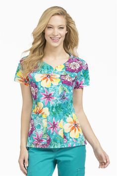 Med Couture / MC2 Lexi Print Top in 'Tropic of Conversation' from Med Couture Scrubs