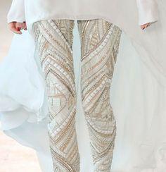 Embellished white leggings.  Via Loho Bride on Tumblr