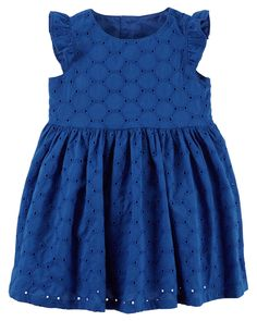 The perfect party dress! Styled with flutter sleeves and a separate diaper cover, this embroidered eyelet dress will have all eyes on her.