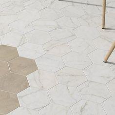 Karra Carrara x Porcelain Field Tile in White/Gray Bathroom Floor Tiles, Shower Floor, Tile Floor, New Toilet, Hexagon Tiles, Small Bathroom, Master Bathroom, Bathroom Ideas, White Bathrooms