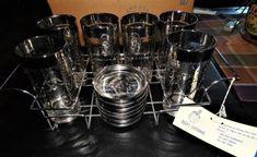 Lusterware Vintage Glasses, Coasters, Caddy Roman Spartan Design NOS Vintage Glassware, Milk Glass, Barware, Roman, Coasters, Coffee Maker, Addiction, Queen, Glasses