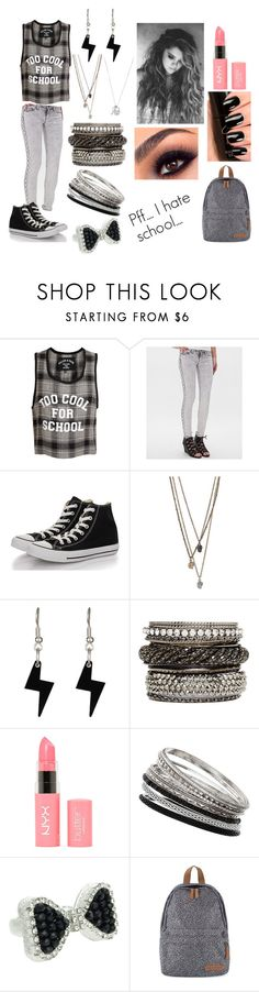 """""""Go to school.... #2"""" by disapproval ❤ liked on Polyvore featuring Filles à papa, SP Black, Converse, Tatty Devine, 2b bebe, NYX, Wallis, Lipsy and Eastpak"""