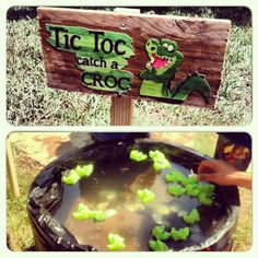 Tic Toc Catch a Croc Party Game -fill up a tub/pool/barrel with water -add floating crocodiles with numbered bellies -kids catch a crocodile and win a prize based on the number  (Just like the carnival rubber duck game)