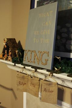 shepherds pouches: What can we give to the King? The pouches represent simpleness and not drawing attention to themselves (as in not serving other people to get praise). Children give service to others.