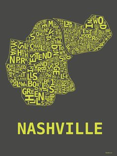 Nashville Neighborhood Map by thehoodshop on Etsy, $19.99