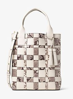 afc4f2e6327e Vivian Large Woven Leather Tote by Michael Kors Michael Kors Stores, Types  Of Bag,