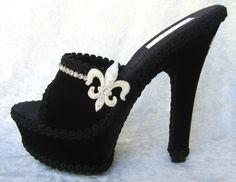 Fluer De Lis Black Velvet Platform Shoe With by noelleborelli, $125.00