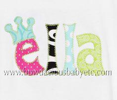 Image detail for -Custom Boutique Applique Name Shirt, Girls or Boys, Custom Fabric ...