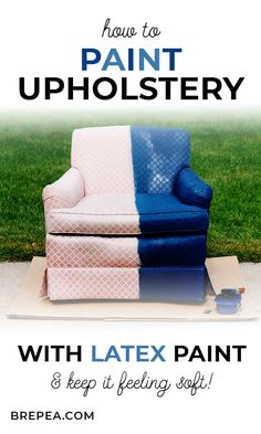 Did you know that you can paint upholstery fabric with latex paint? This DIY tutorial for how to paint an upholstered thrift store chair and still leave it feeling soft includes a before and after. Painting Fabric Furniture, Paint Upholstery, Upholstered Furniture, Fabric Painting, Diy Painting, House Painting, Dining Chair Makeover, Furniture Makeover, Diy Furniture