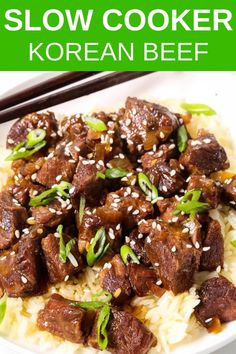 Slow Cooker Korean Beef is one of the most tender, melt in your mouth meals you will ever make! The best part it just takes minutes of preparation and dinner will be ready when you are. Cubed Beef Recipes, Korean Beef Recipes, Slow Cooker Korean Beef, Korean Beef Bowl, Stew Meat Recipes, Slow Cooker Recipes, Korean Bbq, Korean Chicken, Crockpot Asian Recipes